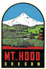 Mt. Hood, Oregon  OR  Vintage-Looking   1950's Sticker-Decal-Luggage Label