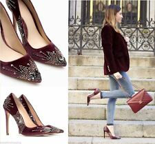 ZARA MAUVE VELVET EMBROIDERED HIGH HEEL SHOES FW15 SIZE 5UK 38EUR NEW TAGS
