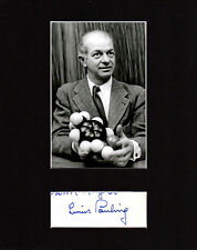 Linus Pauling Autographed Mat Piece! DNA Discovery! Biology Icon! Vitamins! Rare