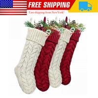 "18"" Large Cable Knitted Christmas Xmas Stockings DIY Design Stocking Decor US"