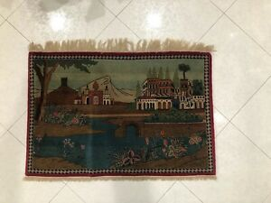 """Antique Tabrizz Scenery Pictoral Rug, 3'5""""x2'3"""""""