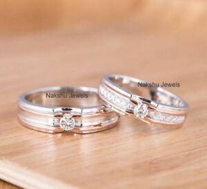 1Ct White Round Cut Moissanite Engagement Wedding Ring Sets In 14K White Gold