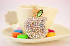 Crystal Diamante Rhinestone Apple Fruit Shaped Bag Charm Handbag Pendant Keyring