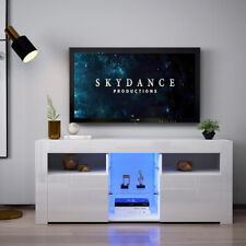 130cm TV Unit Stand Cabinet or Sideboard High Gloss Front LED Lights Shelves