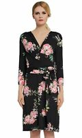 Verlina Women's Vibrant Black & Floral Wrap Dress w/Belted Empire Waist