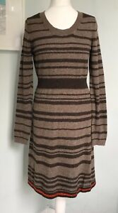 PERUVIAN CONNECTION Brown Striped Baby Alpaca Knitted Jumper Dress M UK 12 Soft