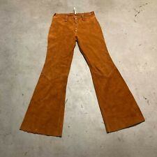 Vintage Womens Suede Leather Brown Bell Bottom Pants