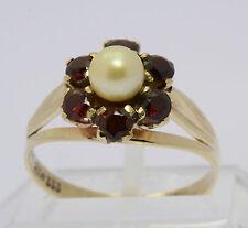 Perlen Ring in aus 8 kt 333 Gelb Gold mit Granat Granatring Goldring Perlenring