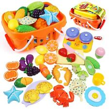 Kids Pretend Food Toys, Cutting Fruits Vegetables Seafood Kitchen Play Food S...