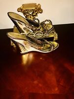 GIUSEPPE ZANOTTI BROWN LEATHER JEWELED EMBELLISHED WEDGES SANDALS 6