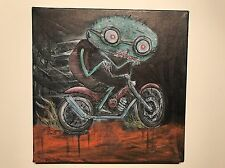 GUS FINK art ORIGINAL painting outsider lowbrow Comix 60s Punk MOTORCYCLE GHOUL