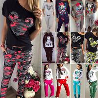 Women Mickey Mouse Tracksuit Hoodie Sweatshirt Pants Set Sports Suit Lounge Wear