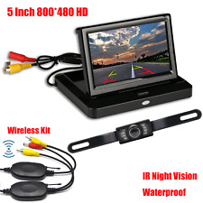 5 Inch HD Foldable Car Rear View LED Monitor Reverse Backup Camera Wireless Kits
