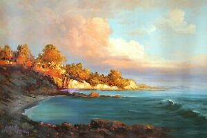 Original Oil Painting On Canvas - Landscape - The Tranquil Bay, Wave, Beach