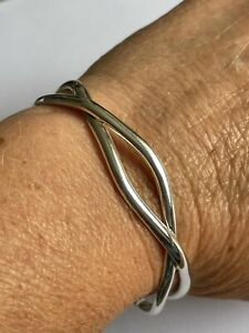 Vintage 925 Solid Silver Twisted Openwork Cuff Bangle 16.9 Grams Ladies