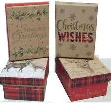 Set of 4 Small Christmas Gift Boxes & Lid 8.5cm X 11.5cm Traditional Tartan Stag