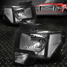 FOR 09-14 FORD F150 BLACK HOUSING CLEAR CORNER HEADLIGHT REPLACEMENT HEAD LAMPS