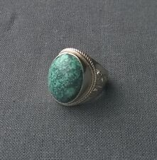 STERLING SILVER HUGE SUBLIME SPIDERWEB TURQUOISE OVAL RING R