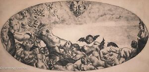 18th Century Original Etching of Dante's Inferno, Incredibly Grotesque, STUNNING