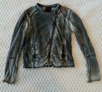 DKNY Jacket Dye Gray/Black Moto Zip Up Lightweight Women's M