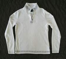 Eddie Bauer -NWOT White w Gray micro Ribbed Top, 1/4 zipTurtleneck Cotton blnd M