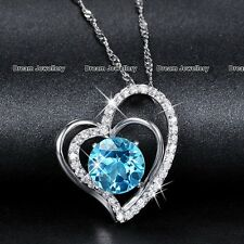 Twin Silver Heart Aquamarine Diamond Necklace Pendant Jewellery Christmas Gifts