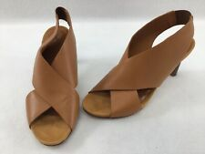 Aquatalia Baleigh Camel Pebbled Leather Criss Cross Sandals Size 6.5 K597