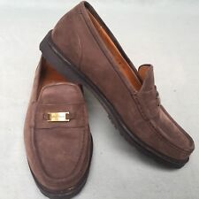 MENS WOMENS SUEDE LEATHER SHOES LOAFERS COLE-HAAN MADE USA BROWN SIZE 8E I8 1111