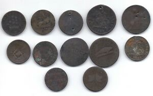 Lot of 12 Canadian pre confederation tokens Upper and Lower Canada Quebec trade