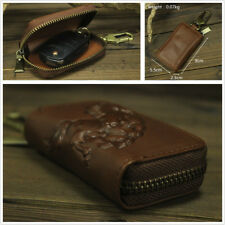 Brown Genuine Leather Retro Car Key Wallet Keychain Key Holder Covers Zipper Bag