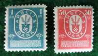 NAZI GERMANY SET OF 2 ARBEITS DANK LABOR DUES REVENUE STAMPS 1933-37 MINT UNUSED