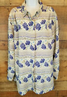 Alfred Dunner Blouse Beige Button Down Blue Floral Top Long Sleeve Plus Size 26W