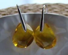 """Yellow Swarovsky crystal earrings in sterling silver 1"""""""