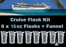 Cruise Flask Kit (8x 16oz + Funnel) Smuggle Rum Alcohol Liquor Plastic Runner