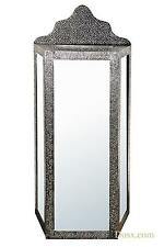 DUSX Chaandhi Kar Mirrored Black-Silver Metal Embossed Floor Cabinet 60x32x140cm