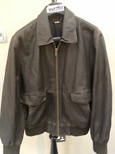 Mens River Island Real Leather Bomber Jacket Size Large