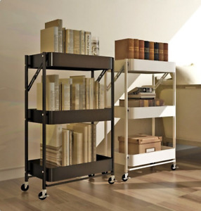 Storage Trolley Cart Folding Rolling 3 Tiers Office Rack Wheels * 24HR Delivery