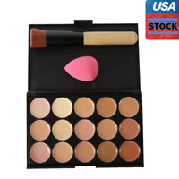 USA 15 Colors Concealer Palette Makeup Set With Brush Sponge Face Contour Cream