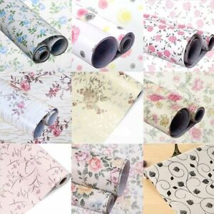Self Adhesive Drawer Shelf Liner Kitchen Cupboard Wall Paper Floral 45x200cm