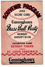 1934 Detroit Tigers vs. St. Louis Cardinals - Cunningham's Exhibition Program