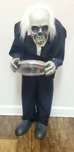 ANIMATED / TALKING SKELETON BUTLER with CANDY TRAY  HALLOWEEN DISPLAY PROP