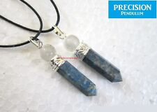 Lapis Lazuli Point with Quartz Crystal Top Precision Pendulum Pendant Necklace