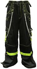 TRIPP NYC BONDAGE PANTS Black Green Zipper Drawstring Size 11 HOT TOPIC Goth GOA