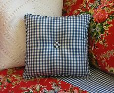 NEW Custom Ralph Lauren Belle Harbor Blue Gingham Throw Pillow 1 Button Check
