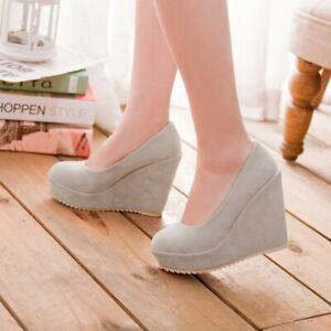 UK2-8.5 High Heels Platform Wedge Ladies Pumps Slip on Casual Party Shoes Size