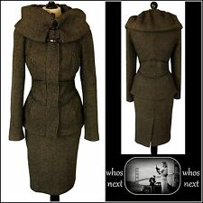 11  ZARA size  L & XL 14 - 16 Brown Tweed Heavy Wool Pencil Skirt Suit Coat