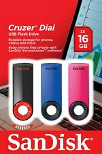 (3 PACK) 16GB - SanDisk Cruzer Dial USB 2.0 Flash Memory Pen Drive Thumb Stick