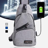 Sac à Dos Bandoulière Homme USB Chargeur Port Backpack Poitrine Voyage Etanche