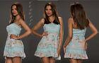 vestito donna mini abito corto bandeau pizzo/floreale 4 colori: tg S/M;L/XL