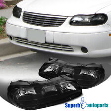 97 03 Chevy Malibu Black Replacement Headlights Driving Lamps Pair Left Right Fits 2000 Chevrolet